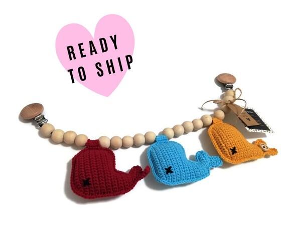 STROLLER CHAIN • amigurumi whale • fish • crochet pram garland • kinderwagenkette • wagenspanner • Ready To Ship