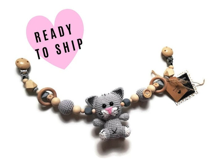 STROLLER CHAIN • cat kitten • woodland animals • amigurumi • crochet pram garland • kinderwagenkette • wagenspanner • Ready To Ship