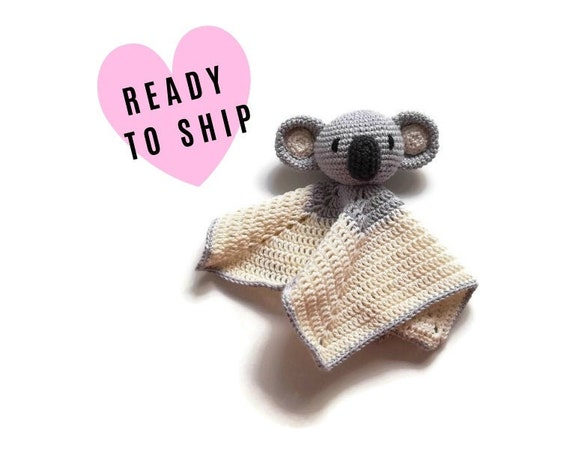 READY TO SHIP: koala baby lovey - crochet - amigurumi - cute cuddly blanket - snuggle - toddler toy - newborn - safety blanket