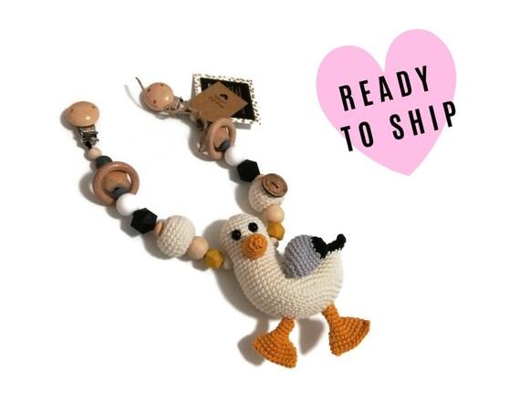 STROLLER CHAIN • amigurumi seagull • bird • crochet pram garland • kinderwagenkette • wagenspanner • Ready To Ship