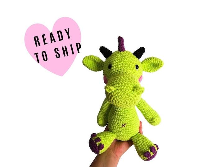 Handmade Crochet Amigurumi Dragon • Large  • Dragon Toy • Fantasie animal • Plush Dragon • CrochetByKim • READY TO SHIP