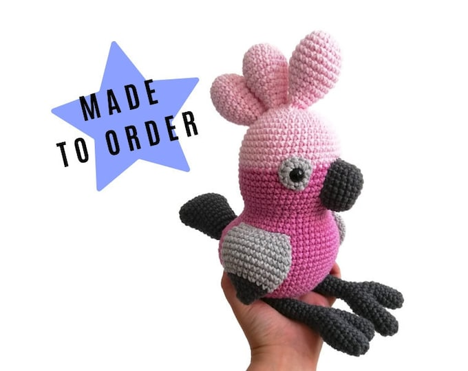 Handmade Crochet Galah Bird • Rose Cockatoo • Australian Parrot • Aussie animal • Plush Galah • CrochetByKim • MADE TO ORDER