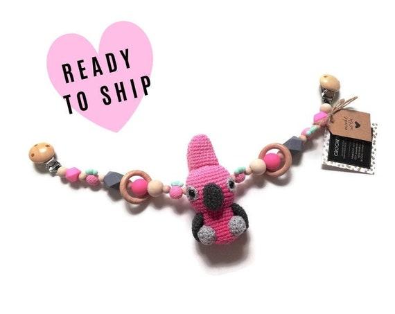 STROLLER CHAIN • Galah bird • aussie animals • amigurumi • crochet pram garland • kinderwagenkette • wagenspanner • Ready To Ship