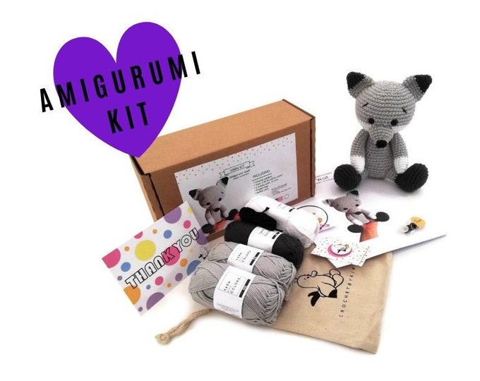 AMIGURUMI YARN KIT - amigurumi wolf - crochet kit - amigurumi pattern . subcription box - amigurumi crochet box - material kit - diy