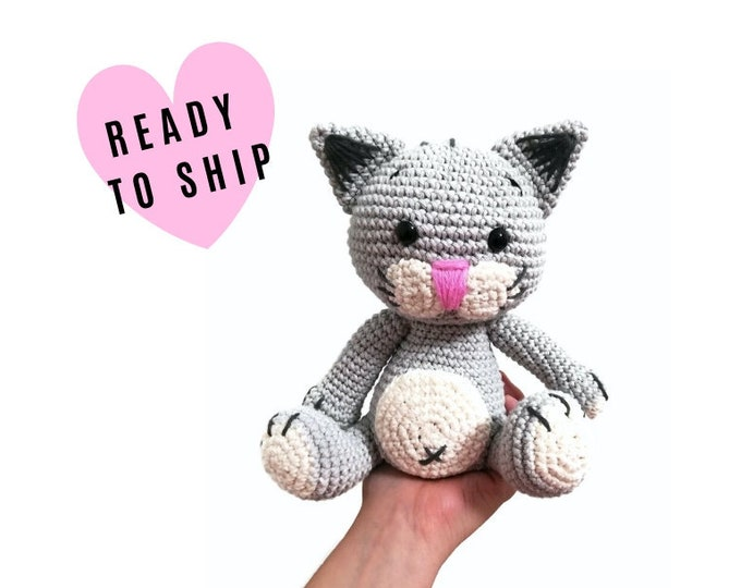 Handmade Crochet Cat • Picatso • amigurumi cat • crochet kitten • kitty toy • cat lover • plushie cat • stuffed cat • READY TO SHIP