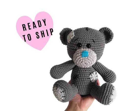 Handmade Crochet Teddybear • Patched bear • amigurumi bear • crochet animal • classic teddy bear • plushie • stuffed bear • READY TO SHIP