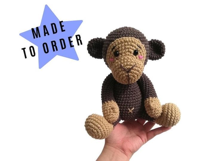 Handmade crochet monkey - Brownie the monkey - amigurumi - jungle animals - zoo - stuffed animal - soft toy - plush monkey - MADE TO ORDER