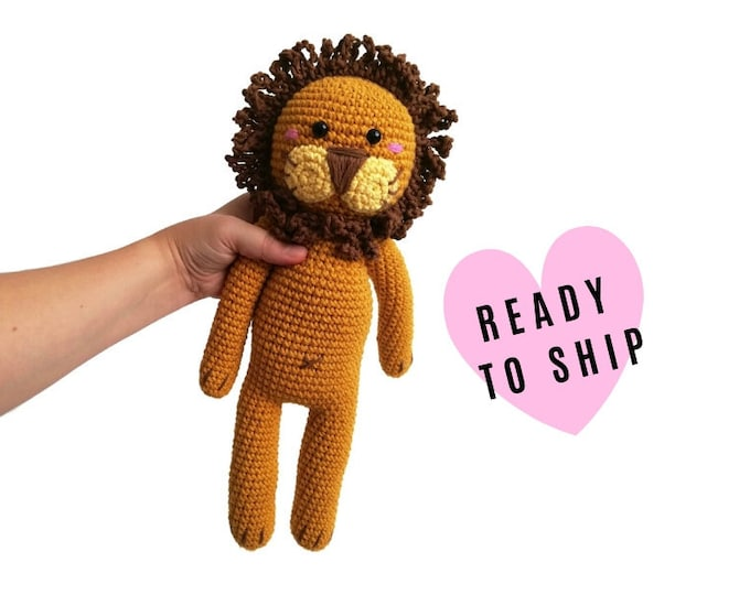 Handmade Crochet Amigurumi lion • woodland animal • jungle animal • zoo animals • Safari • Knitted lion • stuffed animal • READY TO SHIP