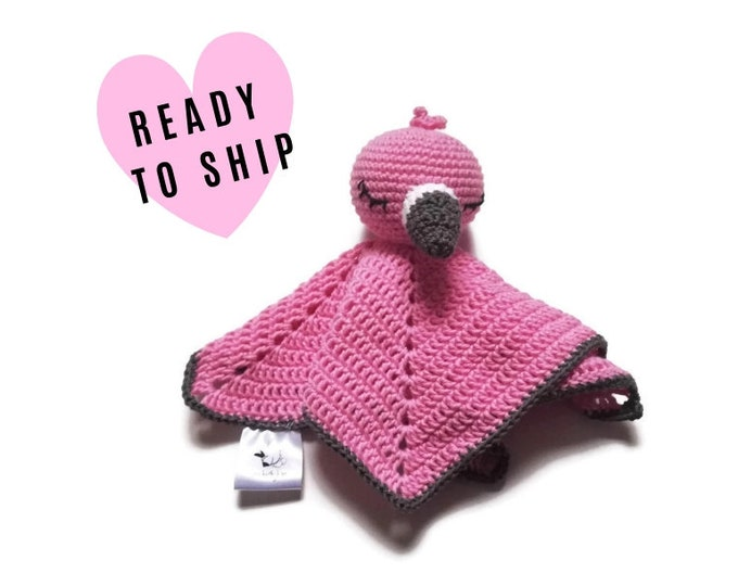 Crochet security blanket - flamingo bird - lovey - toddler toy - snuggle - newborn - safety blanket - australian bird - baby toy