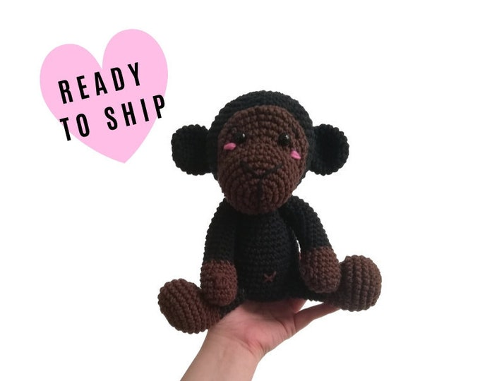 Handmade crochet monkey - Brownie the monkey - amigurumi - jungle animals - zoo - stuffed animal - soft toy - plush monkey - READY TO SHIP