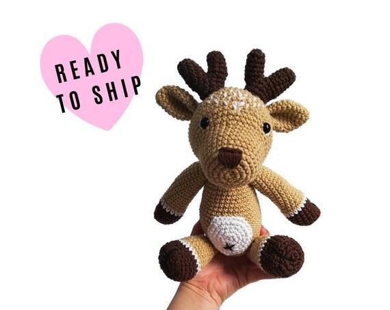 Handmade Crochet Amigurumi Deer • amigurumi reindeer • stuffed animal deer • soft toy • woodland • forest animal • Christmas • READY TO SHIP