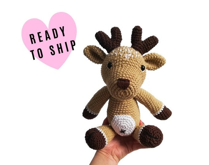 Handmade Crochet Amigurumi Deer • amigurumi reindeer • stuffed animal deer • soft toy • woodland • forest animal • Christmas • READY TO SHIP