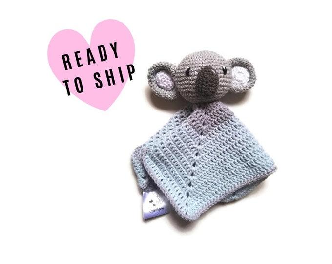 READY TO SHIP: lovey - snuggle - security blanket - koala - crochet - handmade - amigurumi - cute baby blanket - baby shower gift