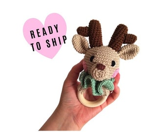 READY TO SHIP - handmade crochet deer teether - woodland animal rattle - teething ring - newborn - wooden ring - forest animal