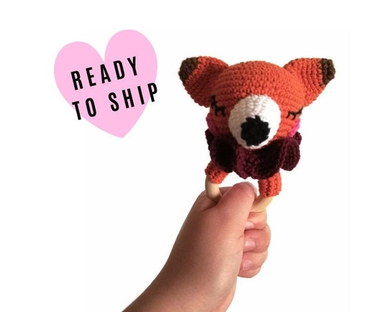 Crochet fox teether - wooden ring - stuffed rattle - baby teething ring - amigurumi - woodland rattle - crochetbykim