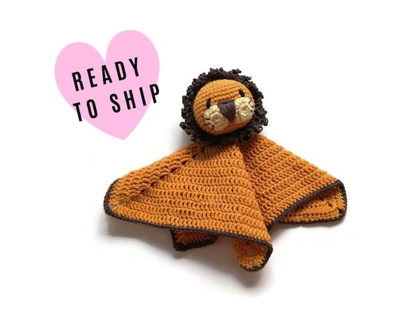 READY TO SHIP: lion baby lovey - crochet - amigurumi - cute cuddly blanket - snuggle - toddler toy - newborn - safety blanket