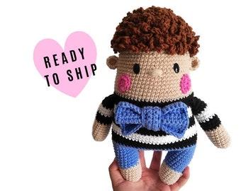 Handmade crochet boy doll • OLOF the doll • amigurumi doll • handmade doll • gift for girl • interior doll • pants and bowtie • stuffed doll