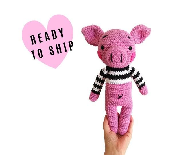 Handmade crochet amigurumi pig • piglet • amigurumi piggy • stuffed pig • handmade knitted gift • CrochetByKim • Ready to ship
