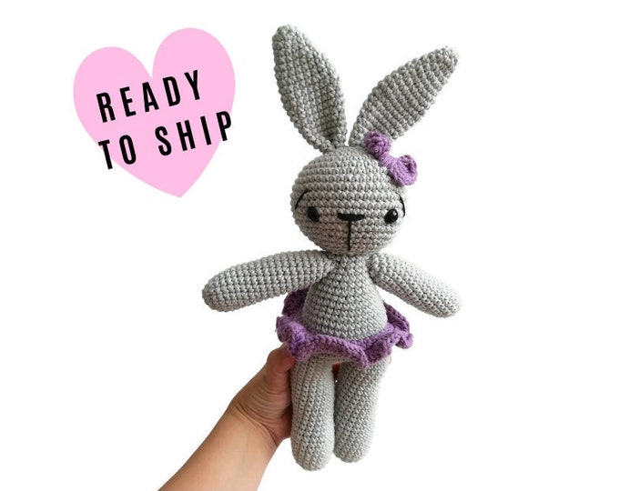 Handmade crochet ballerina bunny • stuffed animal • dancing rabbit • plush doll • amigurumi • gift for girls • crochetbykim • READY TO SHIP