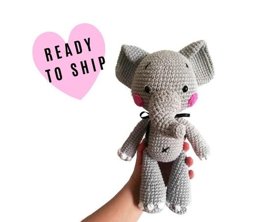 Cloudy the little Elephant • Crochet Amigurumi elephant • Stuffed Animals • safari nursery • Handmade • zipzipdreams • READY TO SHIP