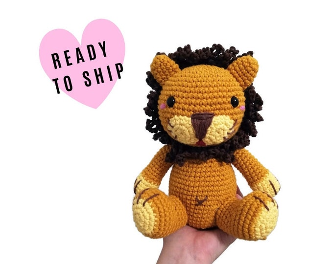 Handmade crochet amigurumi lion • woodland animal • jungle animal • zoo • knitted lion • Safari Animal • CrochetByKim • READY TO SHIP