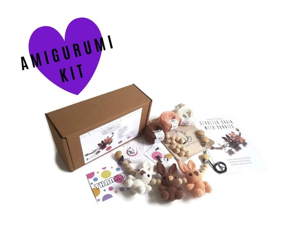 AMIGURUMI YARN KIT - stroller chain bunnies - crochet kit - amigurumi pattern - subcription box - amigurumi crochet box - material kit - diy