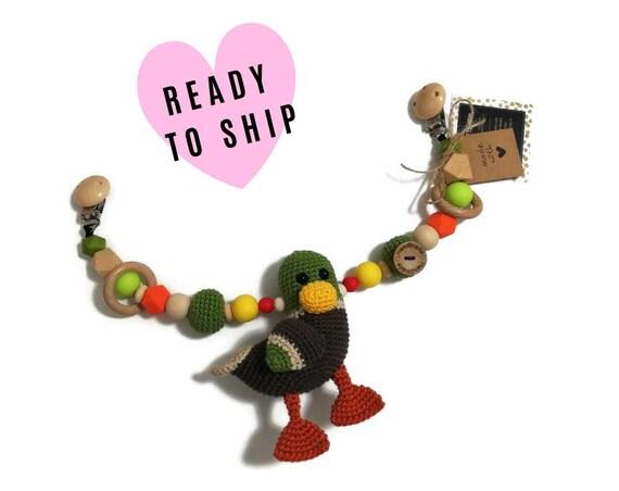STROLLER CHAIN • amigurumi mallard • bird • crochet pram garland • kinderwagenkette • wagenspanner • Ready To Ship