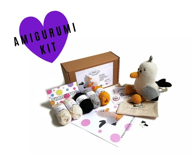 AMIGURUMI YARN KIT - Scraps the seagull - crochet kit - amigurumi pattern . subcription box - amigurumi crochet box - material kit - diy