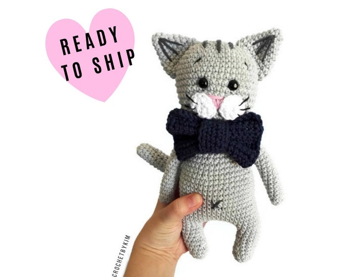Handmade Crochet Cat • amigurumi cat • crochet kitten • kitty toy • cat lover • plushie cat • stuffed cat • READY TO SHIP