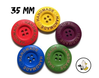 Handmade with Love Buttons 35 mm • wooden beads • Handmade label buttons • round flatbacks • Suppliers For DIY • engraved buttons