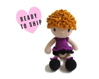 Handmade crochet doll with blonde hair • amigurumi doll • handmade doll • gift for girl • interior doll • dress and shoes • stuffed doll
