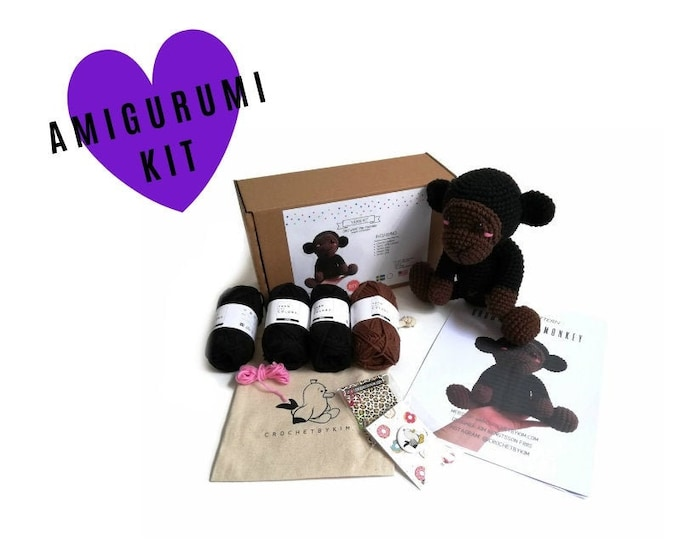 AMIGURUMI YARN KIT - Brownie the monkey - crochet kit - amigurumi pattern . subcription box - amigurumi crochet box - material kit - diy
