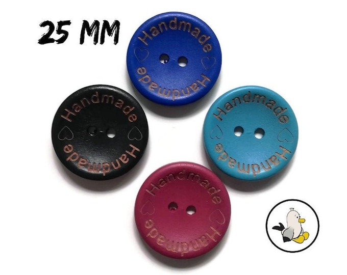 Handmade with Love Buttons 25 mm • wooden beads • Handmade label buttons • round flatbacks • Suppliers For DIY • engraved buttons