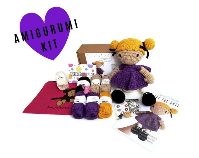 AMIGURUMI CROCHET KIT • Evy the doll • crochet kit • amigurumi pattern • subcription box • amigurumi crochet box • material kit • diy