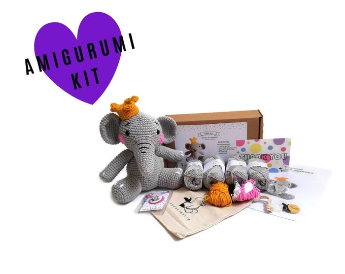 AMIGURUMI CROCHET KIT • Snorky the elephant • crochet kit • amigurumi pattern • subcription box • amigurumi crochet box • material kit • diy
