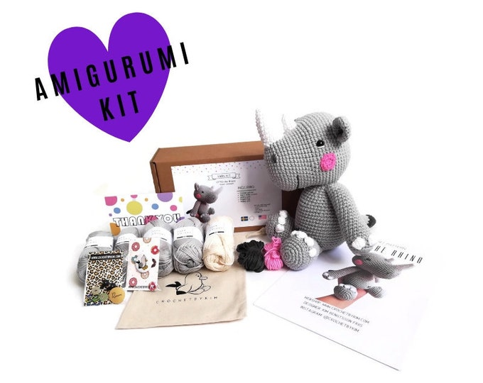 AMIGURUMI CROCHET KIT • Otto the rhino • crochet kit • amigurumi pattern • subcription box • amigurumi crochet box • material kit • diy