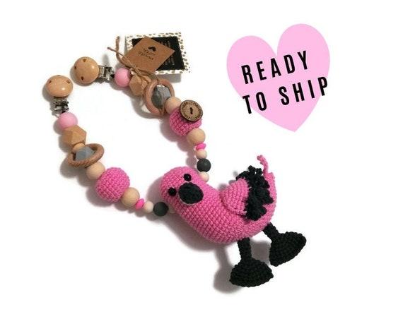 STROLLER CHAIN • amigurumi flamingo • bird • crochet pram garland • kinderwagenkette • wagenspanner • Ready To Ship