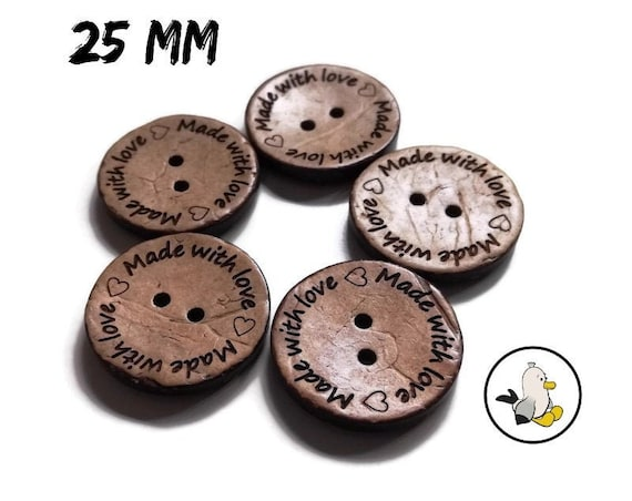 Made with Love Buttons 25 mm • Coconut Shell • Handmade label buttons • round flatbacks • Suppliers For DIY • engraved buttons