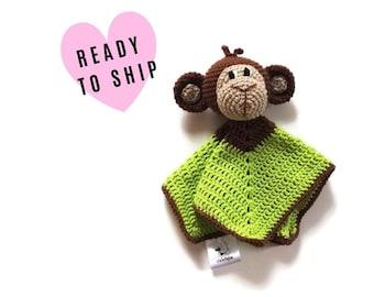 READY TO SHIP: monkey baby lovey - crochet - amigurumi - cute cuddly blanket - snuggle - toddler toy - newborn - safety blanket