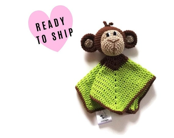 READY TO SHIP: monkey baby lovey - crochet - amigurumi - cute cuddly blanket - snuggle - toddler toy - newborn - safety blanket