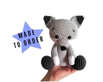 Crochet wolf - Handmade toy - Woodland animals - Stuffed wolf - plush animal - Nursery decor - Amigurumi - forest wolf - MADE TO ORDER