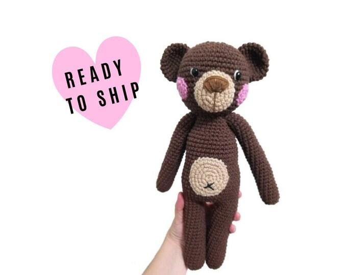 Handmade crochet teddy bear • Charlie the bear • stuffed animal • Classic Teddy bear • Bear doll • CrochetByKim • READY TO SHIP
