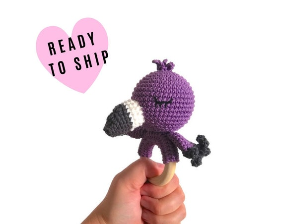 Handmade crochet flamingo teether • amigurumi flamingo rattle • teethering • baby teething ring • Tropical bird • rassel • READY TO SHIP