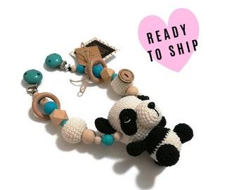 STROLLER CHAIN • Panda Bear • woodland animals • amigurumi • crochet pram garland • kinderwagenkette • wagenspanner • Ready To Ship