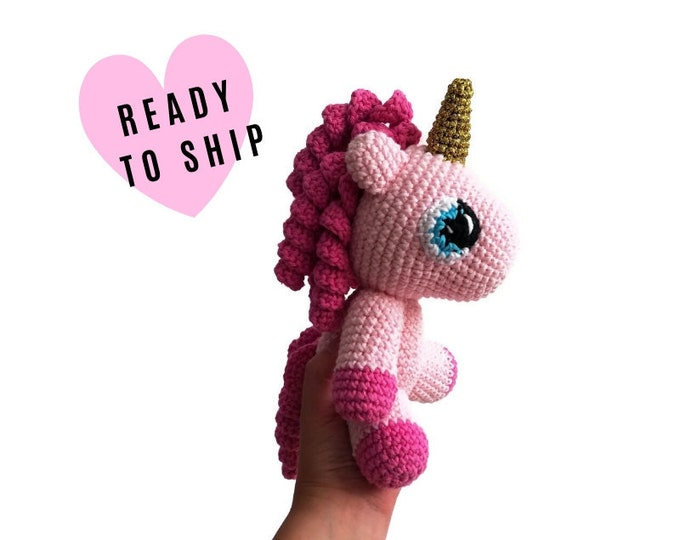 Handmade crochet amigurumi unicorn •  pink amigurumi pony •  unicorn toy •  stuffed pony • crochetbykim • READY TO SHIP