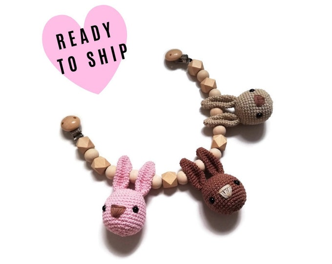 STROLLER CHAIN • Bunny • woodland animals • amigurumi • crochet pram garland • kinderwagenkette • wagenspanner • Ready To Ship