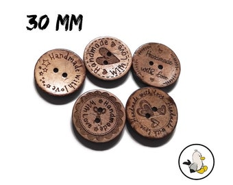 Handmade with Love Buttons 30 mm • Coconut Shell • Handmade label buttons • round flatbacks • Suppliers For DIY • engraved buttons