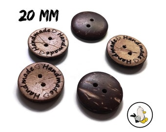 Handmade with Love Buttons 20 mm • Coconut Shell • Handmade label buttons • round flatbacks • Suppliers For DIY • engraved buttons