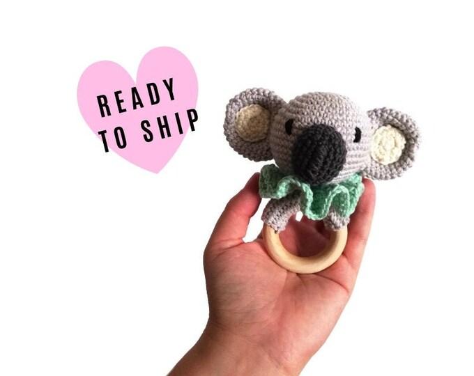 Handmade crochet koala teether • amigurumi koala rattle • teethering • baby teething ring • natural baby toy • rassel • READY TO SHIP