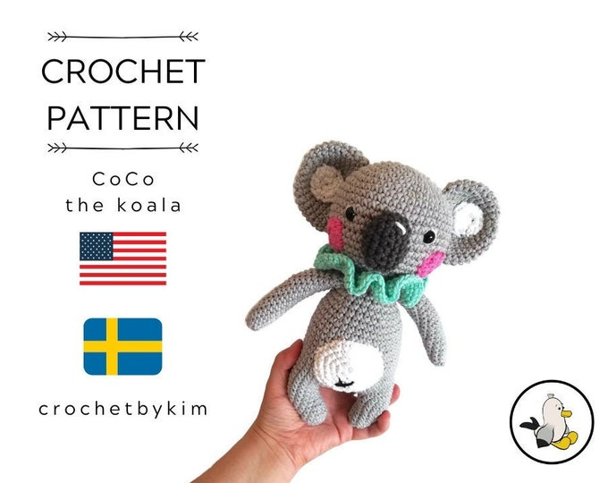 CROCHET PATTERN - CoCo the koala - amigurumi koala - aussie animal - koala bear - stuffed animal - handmade - diy - doll - crochetbykim